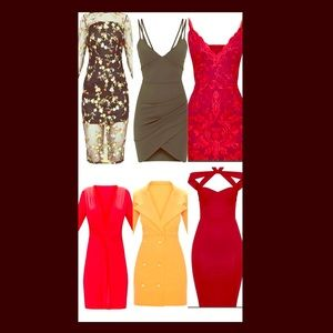 5 pretty little thing dresses BNWTs Bundle Sz 10